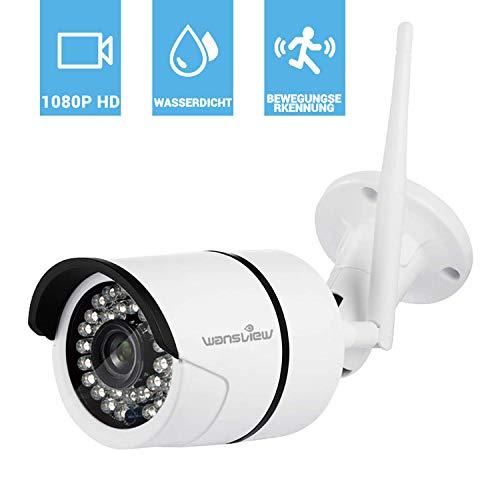 Wansview Wlan IP Kamera 1080P/ 2 Mega Pixel HD Sicherheitskamera für Außen / LAN & Wlan Verbindung / Outdoor IP66 wasserdichte Netzwerkkamera, Infrarot Nachtsicht, deutsche App/Anleitung W2 (Weiß)