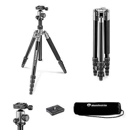 Manfrotto  Element Traveller Kit groß (Reisestativ, kompaktes und stabiles Stativ Kit aus Aluminium, vielseitige Verwendungsmöglichkeiten, maximale Arbeitshöhe 164 cm, Packmaß 42 cm) grau